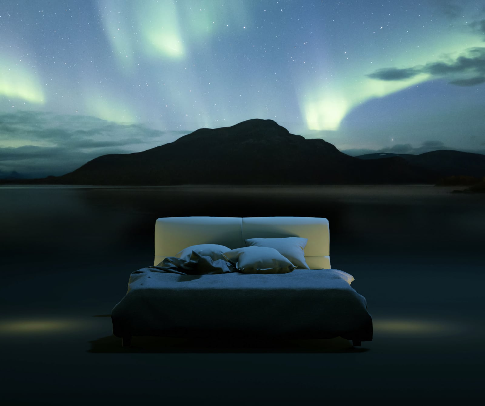 Photo of a bed at night-time